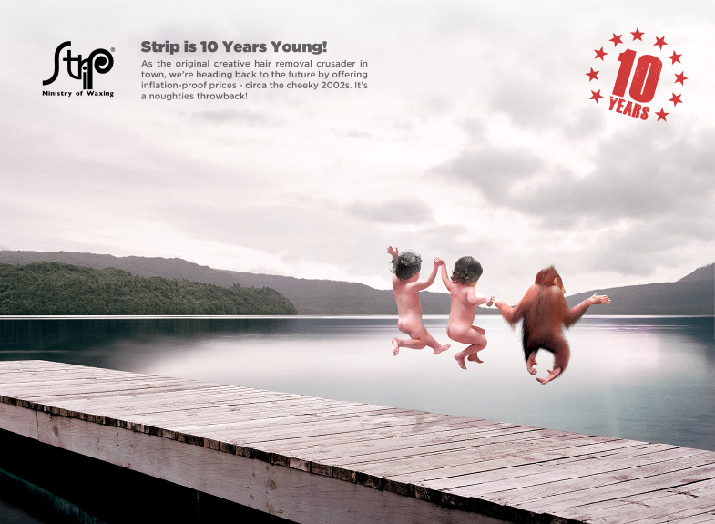 In celebration of their 10th Anniversary, Strip changed their menu prices to how they were 10 years ago. To communicate that message, I took Strip\'s famous branding visual (an image of two adult humans and a orangutan jumping off a jetty) and digitally edited it to make the models 10 years younger.
